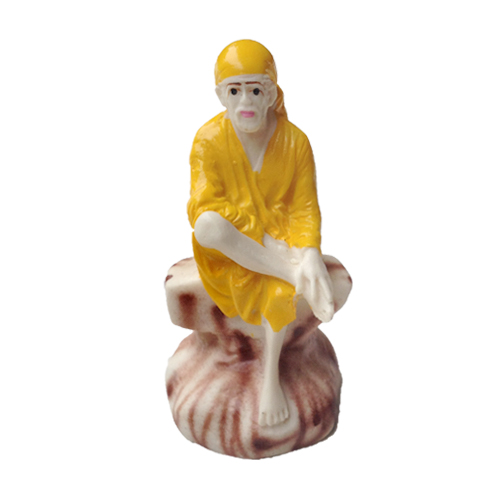 SAI BABA RESIN STATUE WEARING YELLOW DRESS