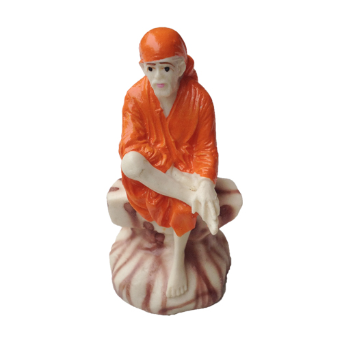 SHIRDI SAI NATH RESIN MURTI IN ORANGE DRESS