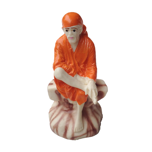 SHRI SAI BABA RESIN MURTI IN ORANGE CHOLA