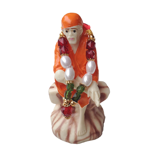 DEITY SHIRDI SAI BABA RESIN STATUE WITH MALA